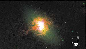 A three-color image of the dwarf starburst galaxy NGC 5253. Green corresponds to star light. The yellow shows the gas that is being lit up by the starburst at the galaxy's core. The red shows where ultraviolet light from massive stars is evaporating gas, exposing the central starburst along a narrow cone. Credit: Courtesy of Jordan Zastrow