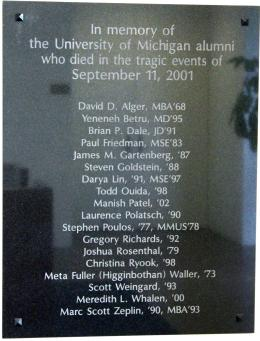 In a quiet area of the Alumni Center lobby rests a plaque dedicated to the alumni who died in the attacks of September 11